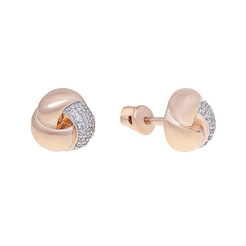 Золотые серьги гвоздики с фианитами ЮЫ1202000126278