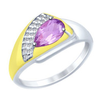 Серебряное кольцо с аметистами и фианитами ДИ92011452