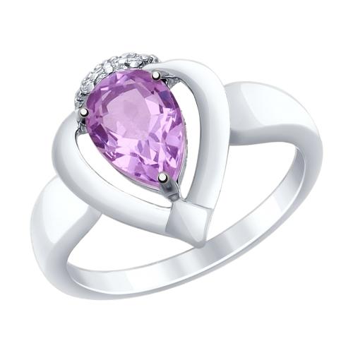 Серебряное кольцо с аметистами и фианитами ДИ92011466