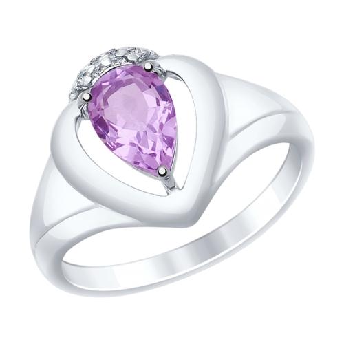 Серебряное кольцо с аметистами и фианитами ДИ92011471