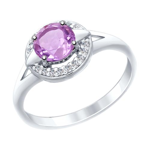 Серебряное кольцо с аметистами и фианитами ДИ92011460