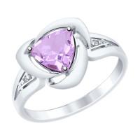 Серебряное кольцо с аметистами и фианитами ДИ92011479