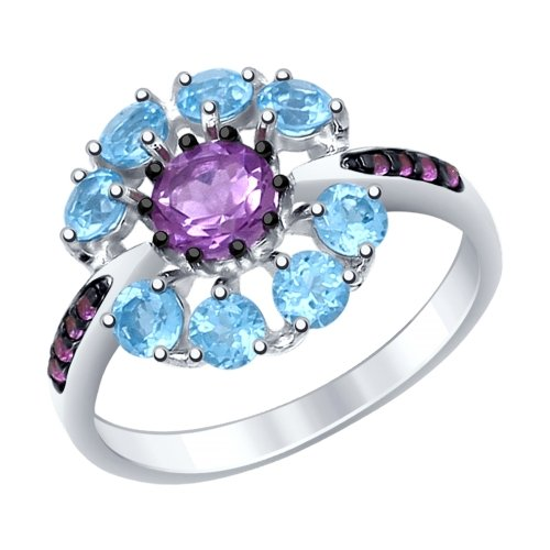 Серебряное кольцо с аметистами, топазами и фианитами ДИ92011398