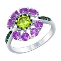 Серебряное кольцо с аметистами, хризолитами и фианитами ДИ92011399