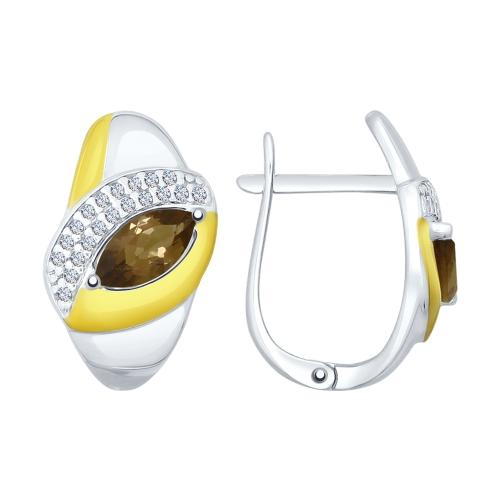Серебряные серьги с фианитами и раухтопазами ДИ92021614