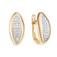 Золотые серьги с фианитами ЮИС132-4289 женские