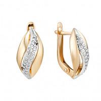 Золотые серьги с фианитами ЮИС132-4557 женские