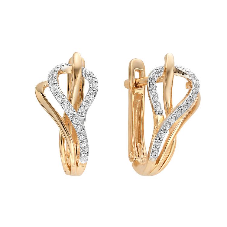 Золотые серьги с фианитами ЮИС132-2498