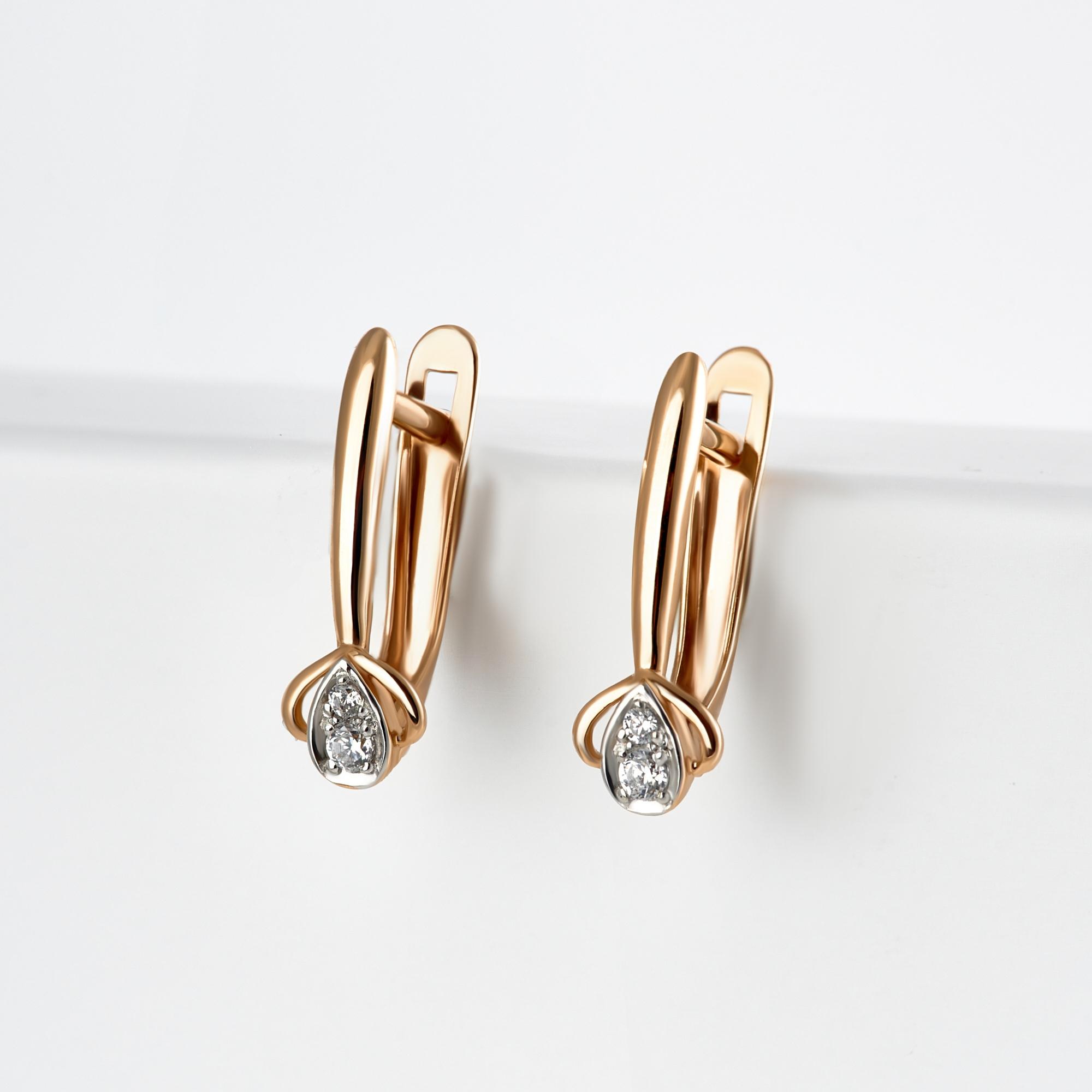 Золотые серьги с фианитами ЮИС132-4810