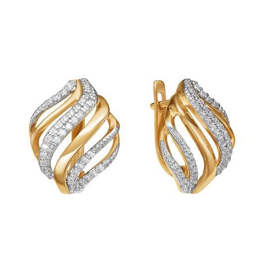 Золотые серьги с фианитами ЮИС132-4092