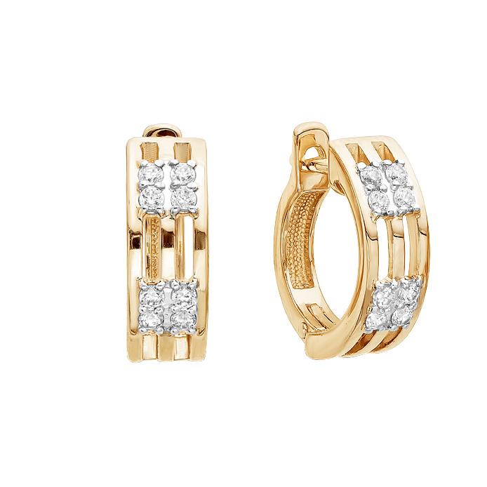 Золотые серьги с фианитами ЮИС132-3492