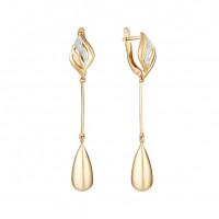 Золотые серьги подвесные с фианитами ЮИС132-4576