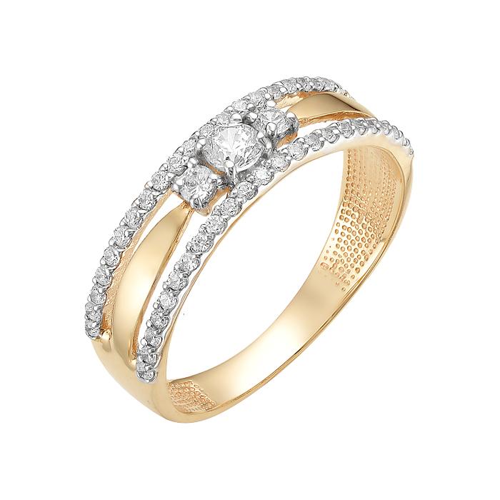 Золотое кольцо с фианитами ЮИК132-2678