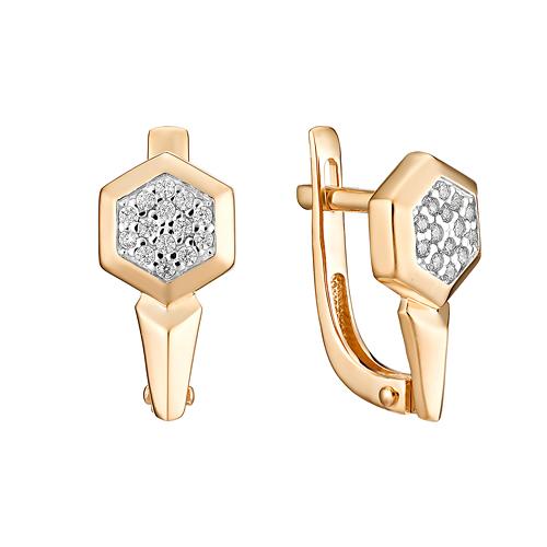 Золотые серьги с фианитами ЮИС132-4734