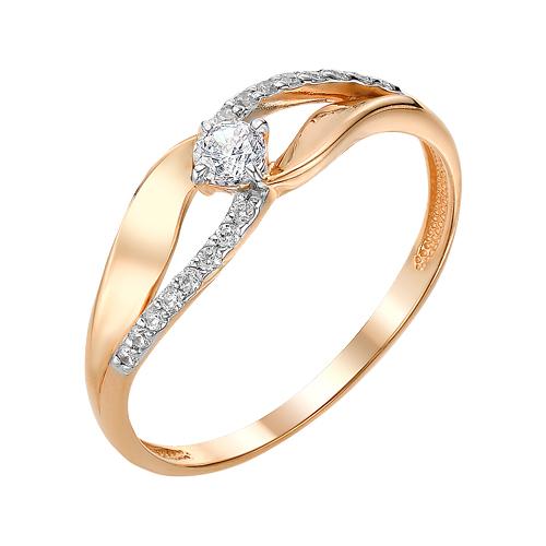 Золотое кольцо с фианитами ЮИК132-3007