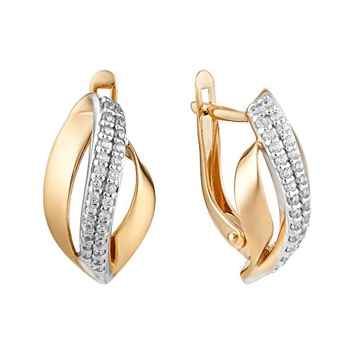 Золотые серьги с фианитами ЮИС132-4559