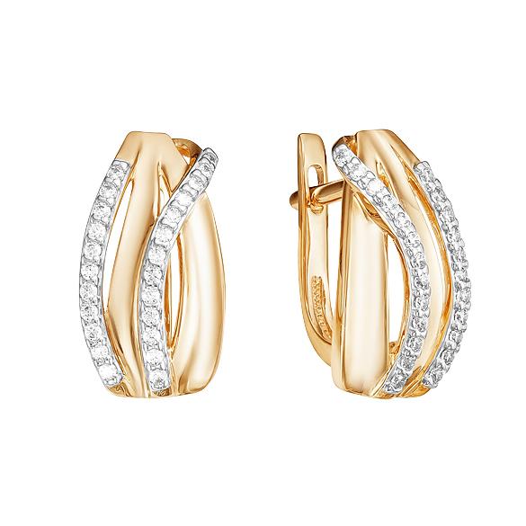 Золотые серьги с фианитами ЮИС132-4256