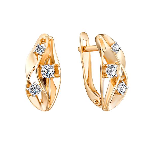 Золотые серьги с фианитами ЮИС132-4729