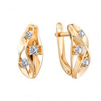 Золотые серьги с фианитами ЮИС132-4729 женские