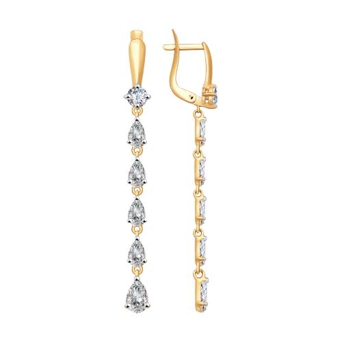 Золотые серьги подвесные с сваровски ДИ81020330