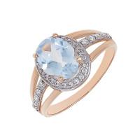 Золотое кольцо с кварцем и фианитами 2БКЗ5К.1-13.93-0364-02