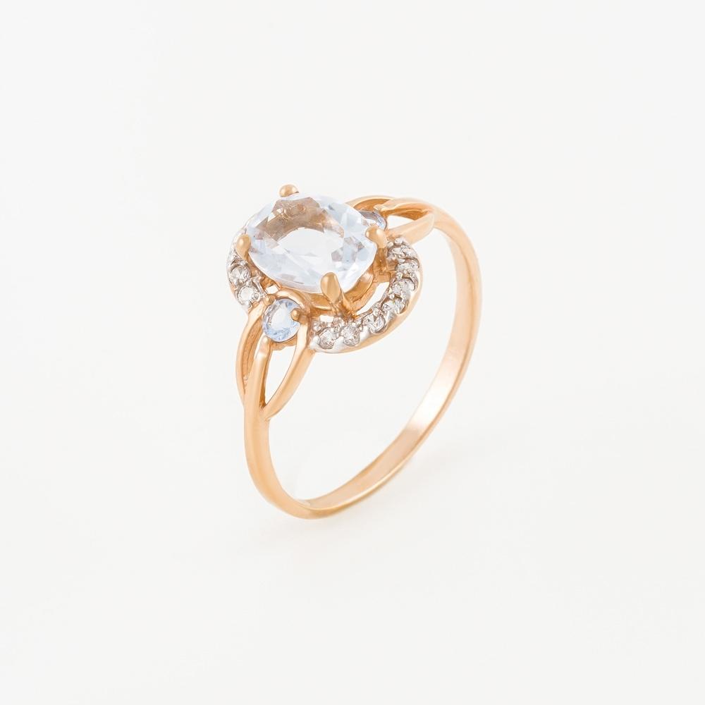 Золотое кольцо с кварцем и фианитами 2БКЗ5К.1-13.93-0359-04
