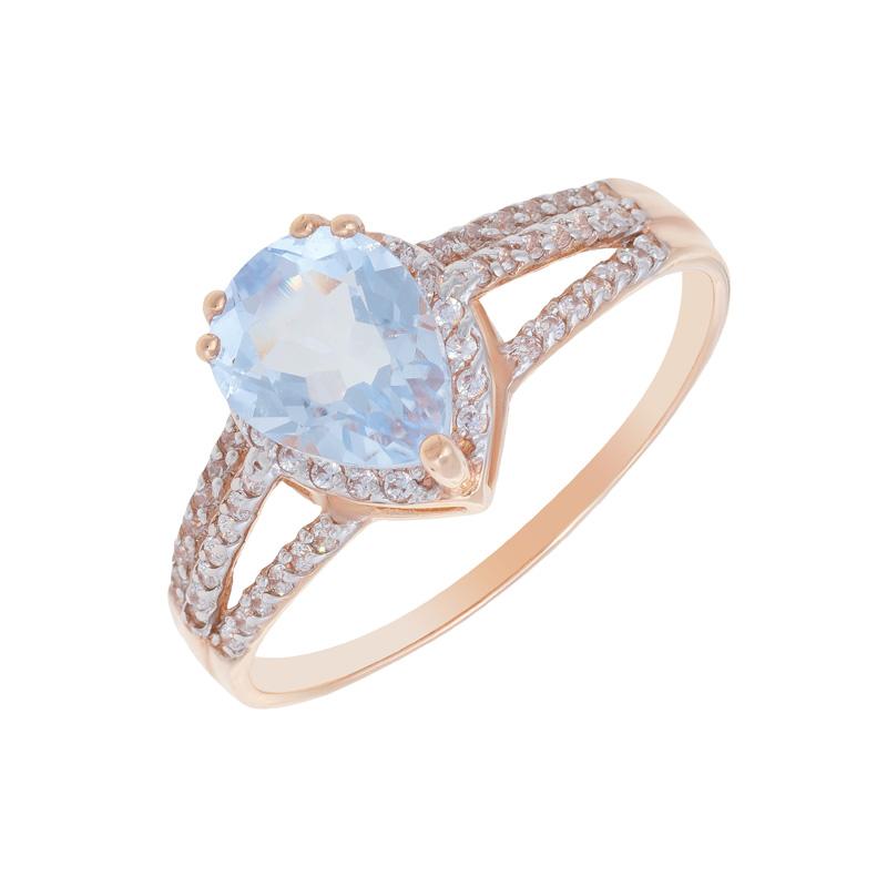 Золотое кольцо с кварцем и фианитами 2БКЗ5К.1-13.93-0424-01тг