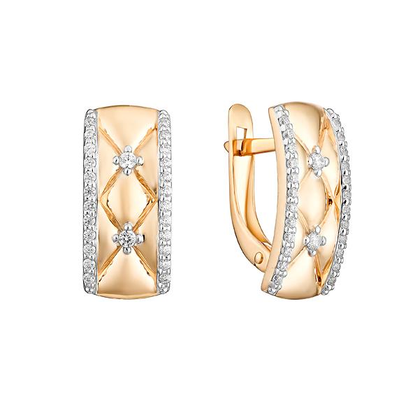Золотые серьги с фианитами ЮИС132-4710