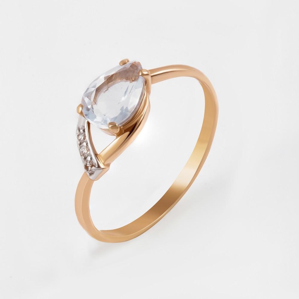 Золотое кольцо с кварцем и фианитами 2БКЗ5К.1-13.93-0431-01тг
