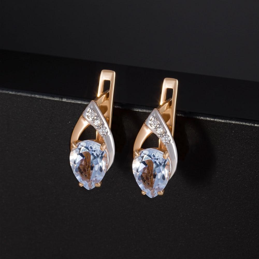 Золотые серьги с кварцем и фианитами 2БСЗ5К.1-13.93-0431-01
