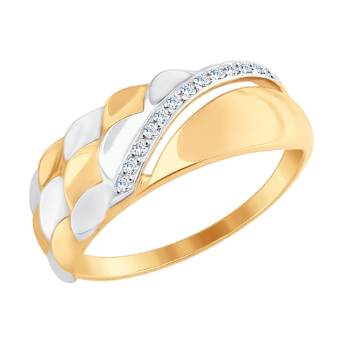 Золотое кольцо с фианитами ДИ017671