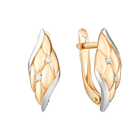 Золотые серьги с фианитами ЮИС132-4705