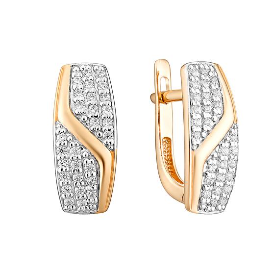 Золотые серьги с фианитами ЮИС132-4738