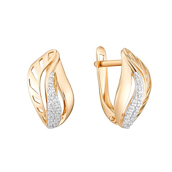 Золотые серьги с фианитами ЮИС132-4769