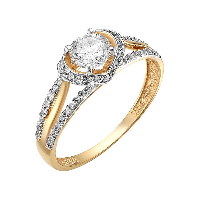 Золотое кольцо с фианитами ЮИК132-2694