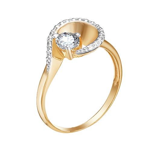 Золотое кольцо с сваровски и фианитами ЮИК132-4534Св