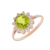 Золотое кольцо с ситалом и фианитами 2БКЗ5К-14.98-1154-04