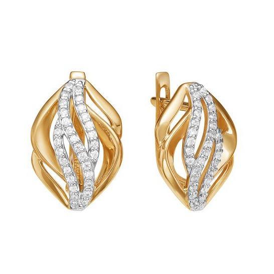 Золотые серьги с фианитами ЮИС132-4101