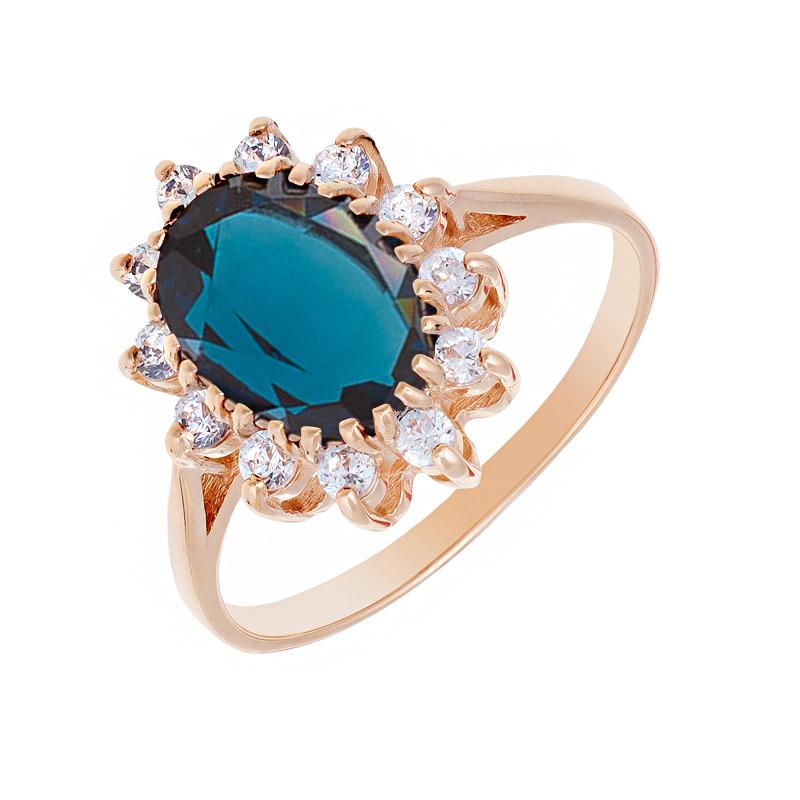 Золотое кольцо с ситалом и фианитами 2БКЗ5К-14.94-1154-02