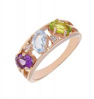 Золотое кольцо с кварцем, ситалом и фианитами 2БКЗ5К-99-0415-01
