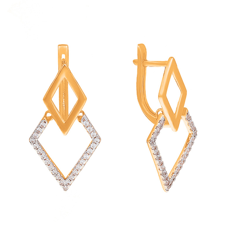 Золотые серьги с фианитами СН01-215326