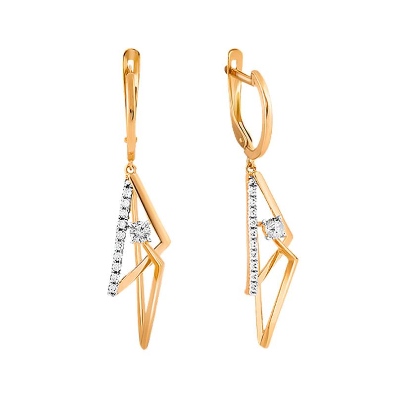 Золотые серьги подвесные с фианитами СН01-215334