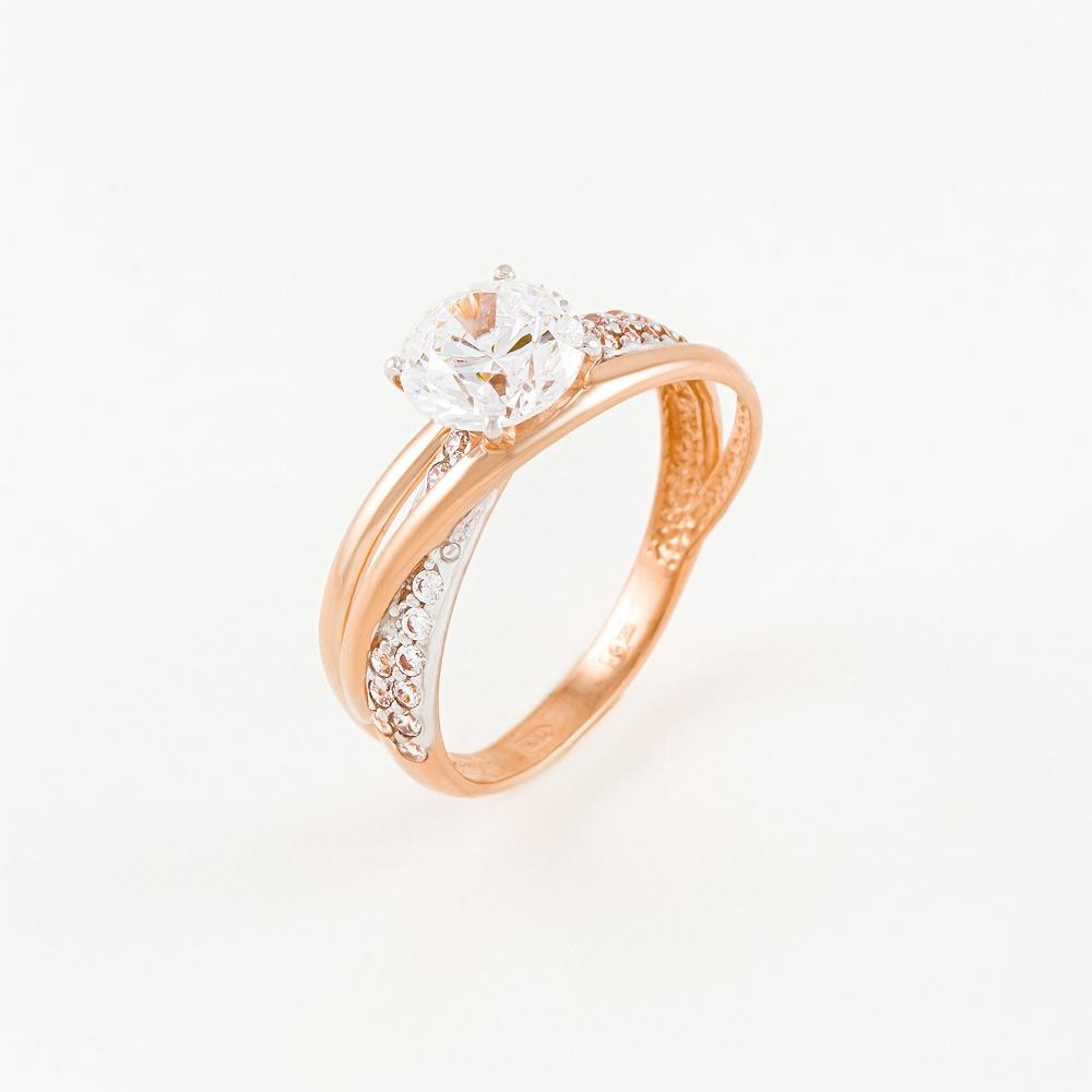 Золотое кольцо с фианитами СН01-114256