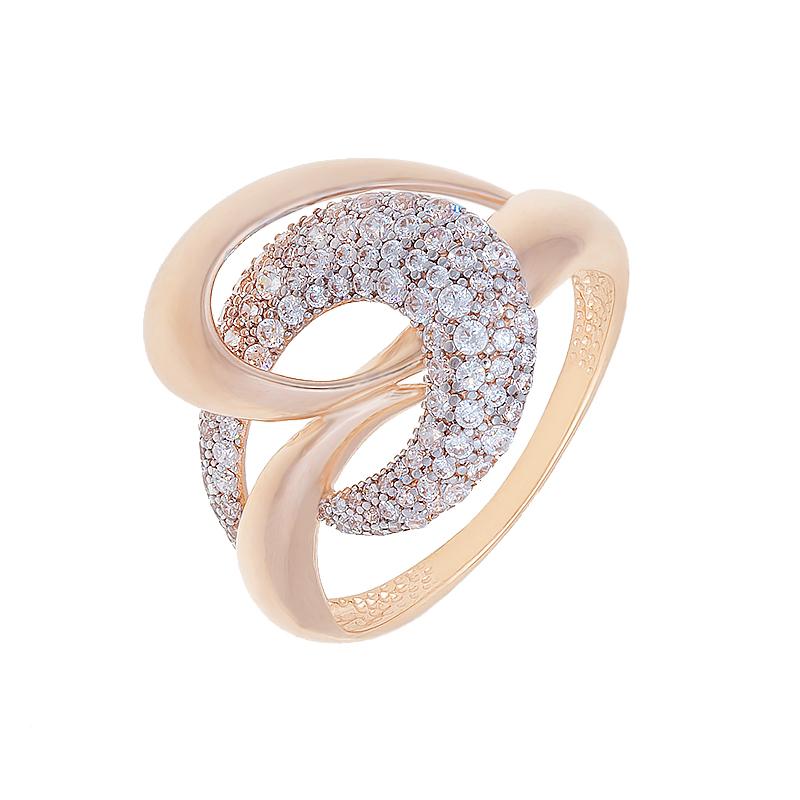 Золотое кольцо с фианитами СН01-114351