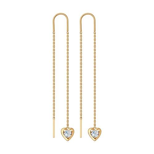 Золотые серьги протяжки с фианитами ДИ027601