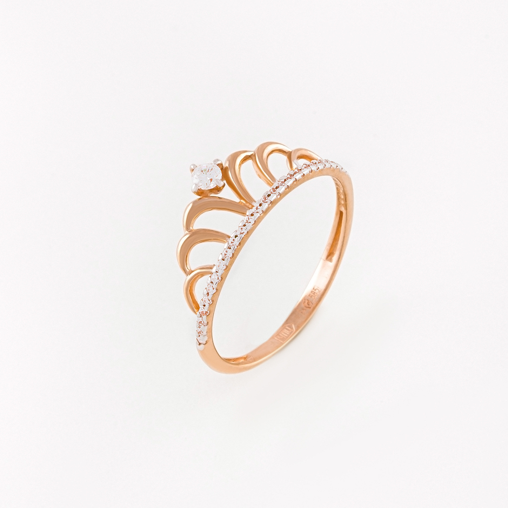 Золотое кольцо с фианитами СН01-114841
