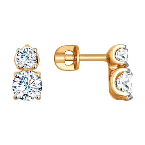 Золотые серьги гвоздики с фианитами ДИ027679