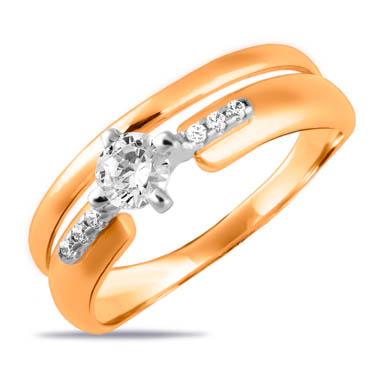 Золотое кольцо с фианитами СН01-115314