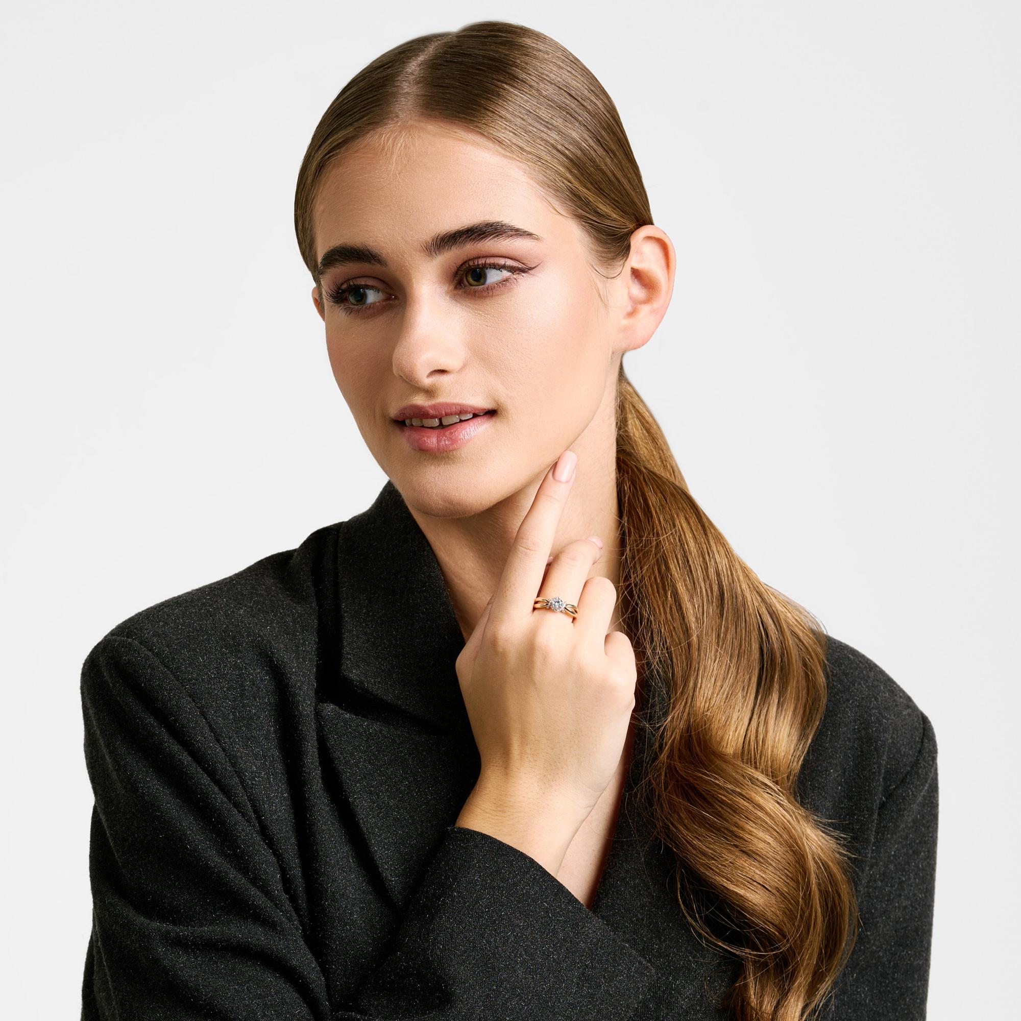 Золотое кольцо с фианитами СН01-115322