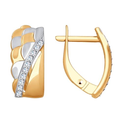 Золотые серьги с фианитами ДИ027724